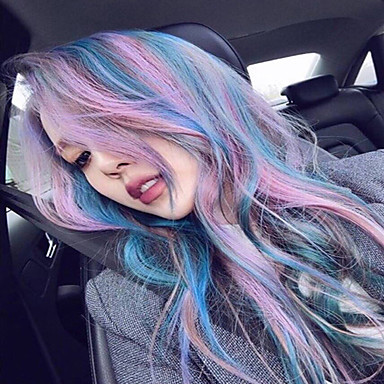 Synteettiset hiukset Peruukit Laineita Liukuvärjätyt hiukset Suojuksettomat Luonnollinen peruukki Violetti