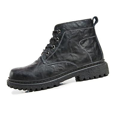 男性用 靴 レザー 冬 コンバットブーツ コンフォートシューズ ブーツ ウォーキング 編み上げ のために カジュアル ブラック ダークブラウン