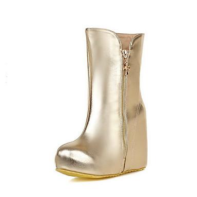 Dame-PU-Kilehæl-Komfort-Støvler-Kontor og arbeid Formell Fritid-Sølv Gull