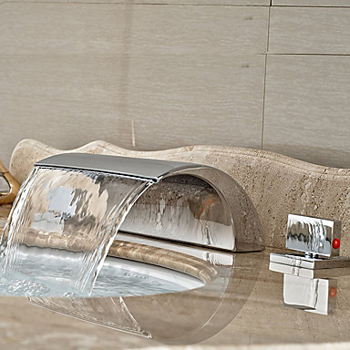 コンテンポラリー 組み合わせ式 滝状吐水タイプ with  セラミックバルブ 三つ 二つのハンドル三穴 for  クロム , バスルームのシンクの蛇口