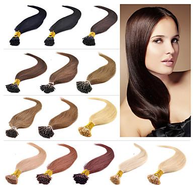 Fusion /I Tip Ludzkich włosów rozszerzeniach Human Hair Prosta Pakiet 100 Pasemka / 16 cali 18 cali 20 cali 22 cali 24 cali