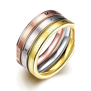 女性 指輪 オリジナル 初期ジュエリー 欧風 ステンレス鋼 銀メッキ ゴールドメッキ ジュエリー パーティー 日常 カジュアル