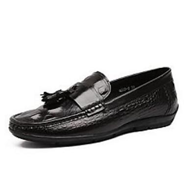 男性用 靴 レザー コンフォートシューズ ローファー&スリップアドオン のために カジュアル ブラック コーヒー