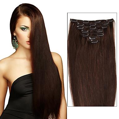 billige Hairextensions med ekte hår-Febay Klipp På Hairextensions med menneskehår Rett Ekte hår Medium Brun / Bleik Blond