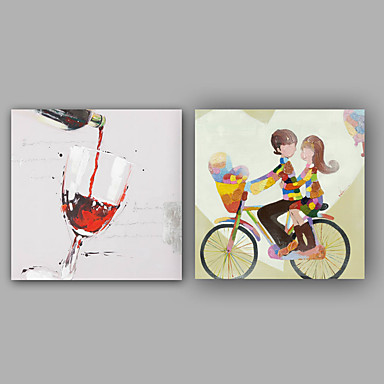 手描きの カートゥン 方形, クラシック 近代の キャンバス ハング塗装油絵 ホームデコレーション 1枚