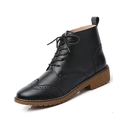Naiset Kengät Nahka Kevät Syksy Talvi Comfort Muotisaappaat Nilkkuri Bootsit Tasapohja Solmittavat Käyttötarkoitus Kausaliteetti Musta