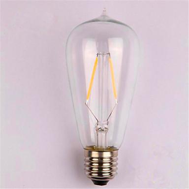 abordables Ampoules électriques-1pc 2 W Ampoules à Filament LED 200 lm E26 / E27 ST58 2 Perles LED COB Décorative Blanc Chaud 220-240 V / 1 pièce / RoHs