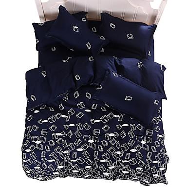 布団カバーセット 幾何学模様 4個 反応染料 4枚(1x布団カバー、1xフラットシート、2xシャム)