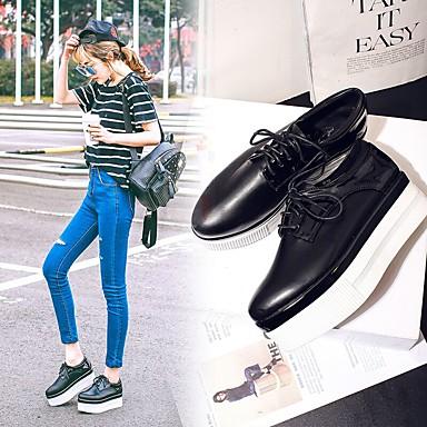 女性用 靴 PUレザー 秋 ラバーソール / コンフォートシューズ オックスフォードシューズ ポインテッドトゥ ブラック