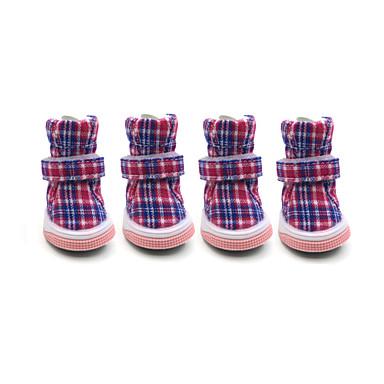 Perro Zapatos y Botas Mantiene abrigado / Moda / Botas de nieve Ajedrez Rojo / Azul / Rosa Para mascotas