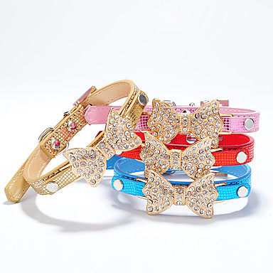 ネコ 犬 カラー 調整可能 / 引き込み式 手作り ラインストーン 蝶結び PUレザー シルバー ローズ レッド ブルー ピンク