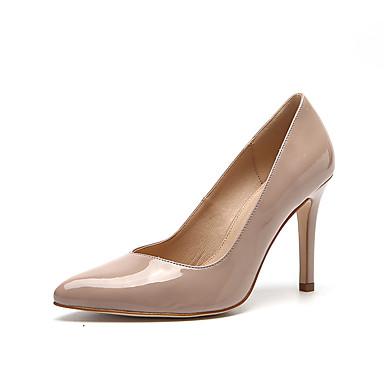 Mulheres Sapatos Couro Envernizado Primavera / Verão Saltos Salto Agulha Dedo Apontado Preto / Nú / Casamento / Festas & Noite / Festas & Noite