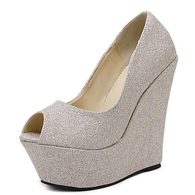 Marche de Cuir Chaussures Confort compensée semelle Eté Nouveauté Talons Hauteur Or ouvert Argent Bout 05500715 à Femme Printemps Chaussures wx1Pnxz