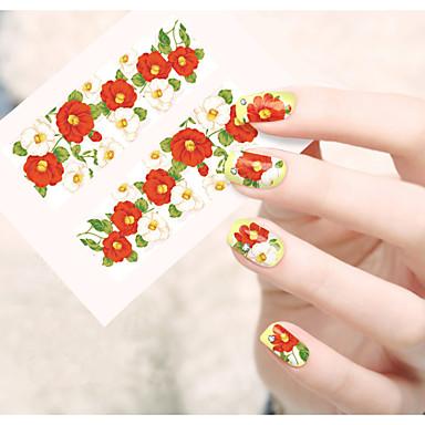 1 נייל ארט מדבקה העברת מים מדבקה פרח סרט מצוייר חמוד קוסמטיקה איפור נייל אמנות עיצוב