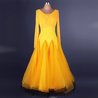 ボールルームダンス ドレス 女性用 性能 ナイロン / オーガンザ クリスクロス / スプライシング 長袖 ナチュラルウエスト ドレス