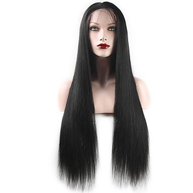 Cabelo Humano Frente de Malha Peruca Liso 120% / 130% Densidade Com Baby Hair / Riscas Naturais / Peruca Afro Americanas Mulheres Curto / Médio / Longo Perucas de Cabelo Natural / Reto