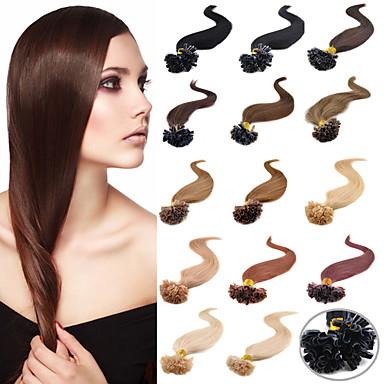 Febay Fusion / U-Spitze Haarverlängerungen Glatt Echthaar Haarverlängerungen Unbehandeltes Haar Brasilianisches Haar Damen