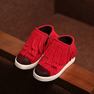 Tyttöjen Kengät PU Kevät Syksy Talvi Comfort Bootsit Tasapohja Pyöreä kärkinen Käyttötarkoitus Kausaliteetti Punainen Tumman ruskea