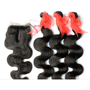 Cheveux Brésiliens Ondulation naturelle Tissages de cheveux humains 4 Pièces 0.5