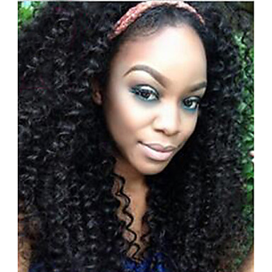 Cabello humano Frontal sin Pegamento / Encaje Frontal Peluca Kinky Curly Peluca 120% Entradas Naturales / Peluca afroamericana / Atado 100 % a mano Mujer Corta / Media / Larga Pelucas de Cabello