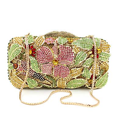 Damen Taschen Metall Abendtasche Crystal / Strass Blume für Hochzeit Veranstaltung / Fest Formal Ganzjährig Golden