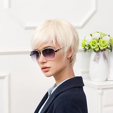 Human Hair Capless Parykker Ekte hår Naturlig rett Pixiefrisyre Med Bangs Side del Kort Parykk Dame