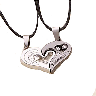 weet (Heart Pendant) Black Leather Pendant Necklace(2 Pc)   Jewelry Christmas Gifts