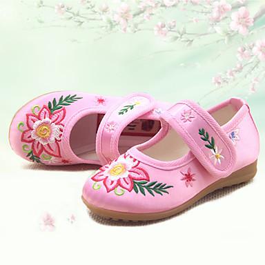 Mädchen Schuhe Seide Frühling Herbst Mary Jane Flache Schuhe Flacher Absatz Runde Zehe Für Normal Pfirsich Rot Rosa