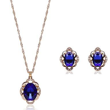 Damen Kristall Krystall Aleación Hochzeit Party 1 Halskette 1 Paar Ohrringe Modeschmuck
