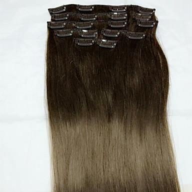 Clip In شعر إنساني إمتداد مستقيم وصلات شعر طبيعي شعر مستعار طبيعي نسائي - متوسطةبني متوسط