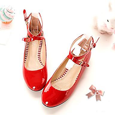 여성 구두 레더렛 봄 여름 가을 플랫 캐쥬얼 용 화이트 블랙 레드 핑크