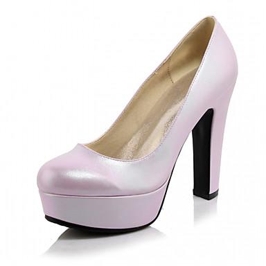 Damen-High Heels-Büro Kleid Lässig-Kunstleder-Blockabsatz-Komfort-Rosa Lila Gold