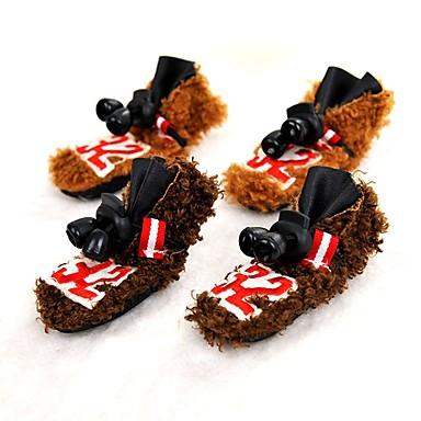 ネコ 犬 シューズ、ブーツ 保温 純色 Brown