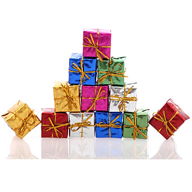 12pc/set Colorful Christmas Tree Gift Box Decoration Wedding Holiday Party Supply Hanging Xmas Ornament Mixed Colors