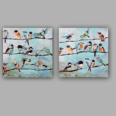 Hang malte oljemaleri Håndmalte - Abstrakt Dyr Klassisk Moderne Lerret