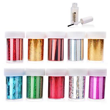 10pcs nail foils + 1pcs nail foil glue - 4cmX120cm each piece - PVC - Absztrakt - Ujj / Toe - 3D-s körömmatricák