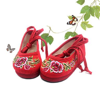 Flache Schuhe-Lässig-Stoff-Flacher Absatz-Mary Jane Light Up Schuhe-Rot