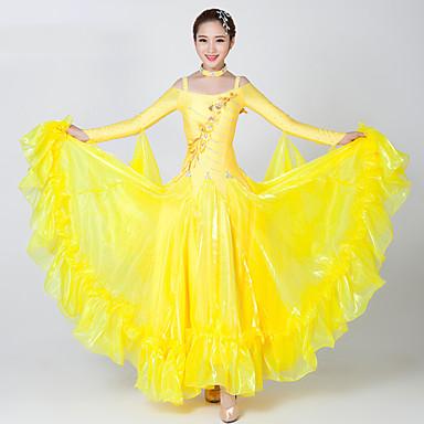 Baile de Salón Vestidos Mujer Rendimiento Licra / Tul Apliques / Corte / Cristales / Rhinestones Manga Larga Vestido / Neckwear