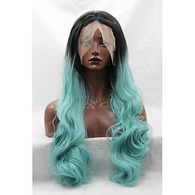女性 人工毛ウィッグ フロントレース ウェーブ グリーン ナチュラルヘアライン ナチュラルウィッグ コスチュームウィッグ