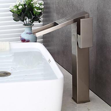 Kylpyhuone Sink hana - Esihuuhtelusuihku / Vesiputous / Laajallle ulottuva Harjattu nikkeli Integroitu Yksi kahva kaksi reikää