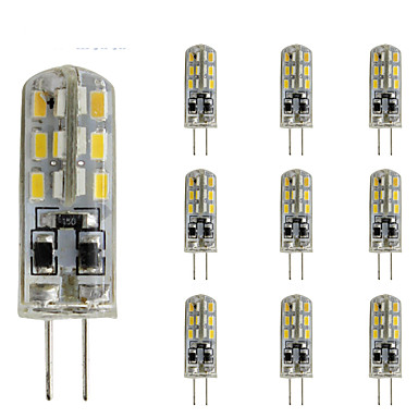 10pcs 1.5W 300lm G4 LED-lamper med G-sokkel Tube 24 LED perler SMD 3014 Mulighet for demping Dekorativ Grønn Blå Rød 12V