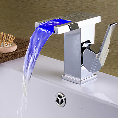 バスルームのシンクの蛇口 - 滝状吐水タイプ / LED クロム センターセット シングルハンドルつの穴