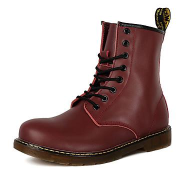 Miesten kengät PU Talvi Syksy Comfort Bootsit Solmittavat varten Kausaliteetti Musta Tumman ruskea Punainen