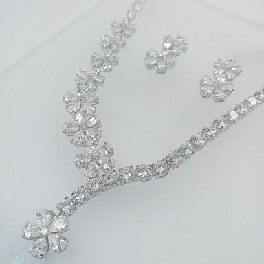 Damen Schmuckset Perle Zirkon Kubikzirkonia Halsketten Ohrringe Für Hochzeit Party Hochzeitsgeschenke