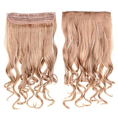 קליפ מתולתל תוספות שיער 1pc צבע 24inch 60 סנטימטרים נכריים # 18/613 מעורב להתכרבל תוספות שיער סינטטיות גליות ארוכות
