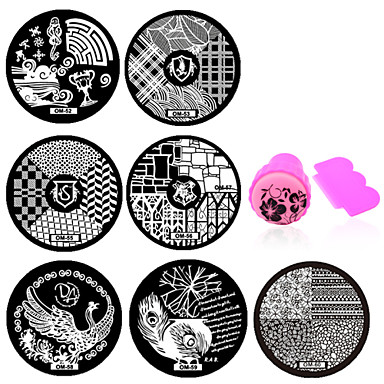 plates in hair style 11 pcs stamping plate nail jewelry flower fashion 6667