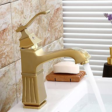 バスルームのシンクの蛇口 - プレリンス / 滝状吐水タイプ / 組み合わせ式 Ti-PVD センターセット シングルハンドル二つの穴