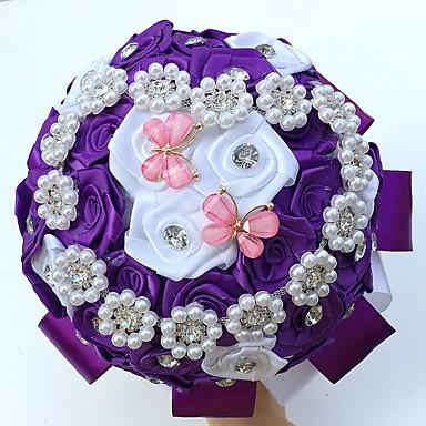ウェディングブーケ ラウンド型 バラ ブーケ 結婚式 パーティー ・夜 サテン シルク ビーズ クリスタル ラインストーン