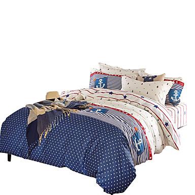 Bettbezug-Sets Streifen 4 Stück Baumwolle Reaktivdruck Baumwolle 4-teilig (1 Bettbezug, 1 Bettlaken, 2 Kissenbezüge)