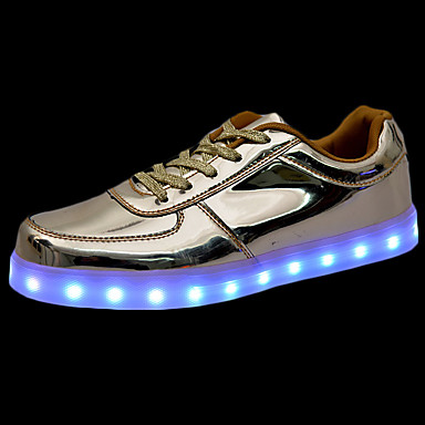 Miehet kengät PU Talvi Syksy Comfort Välkkyvät kengät Lenkkitossut Solmittavat LED Käyttötarkoitus Kausaliteetti Kulta Hopea